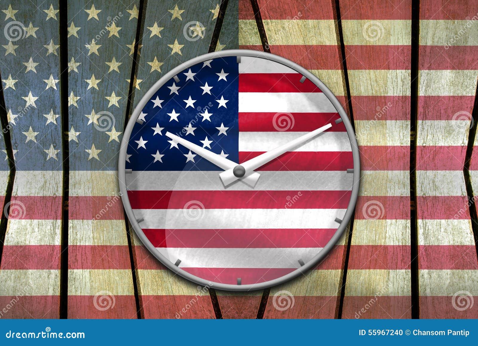 Usa Flag Wall Clock Reads Ten Past Ten Oclock On Usa Flag Paint