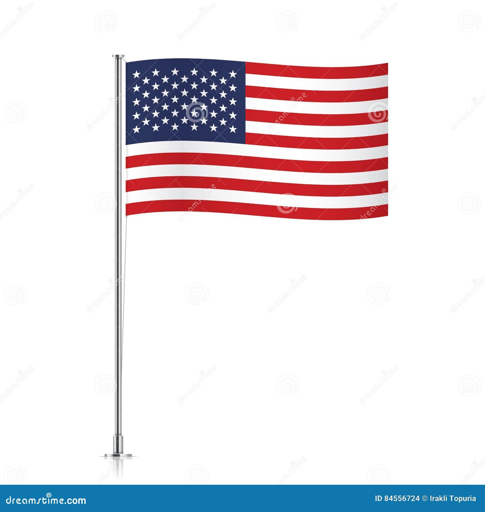 a5ee7603f65 USA Flag Waving On A Metallic Pole. Stock Vector - Illustration of ...