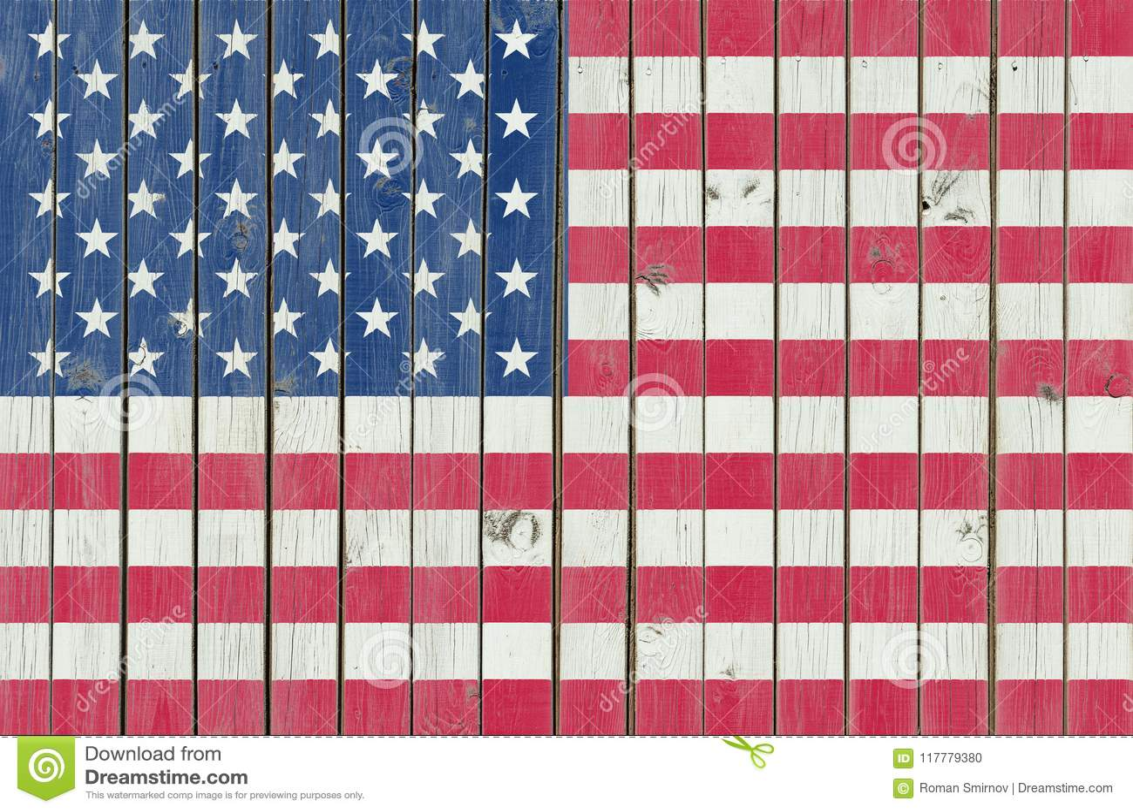 USA flaga malował na drewnianym ogrodzeniu, Amerykański tło