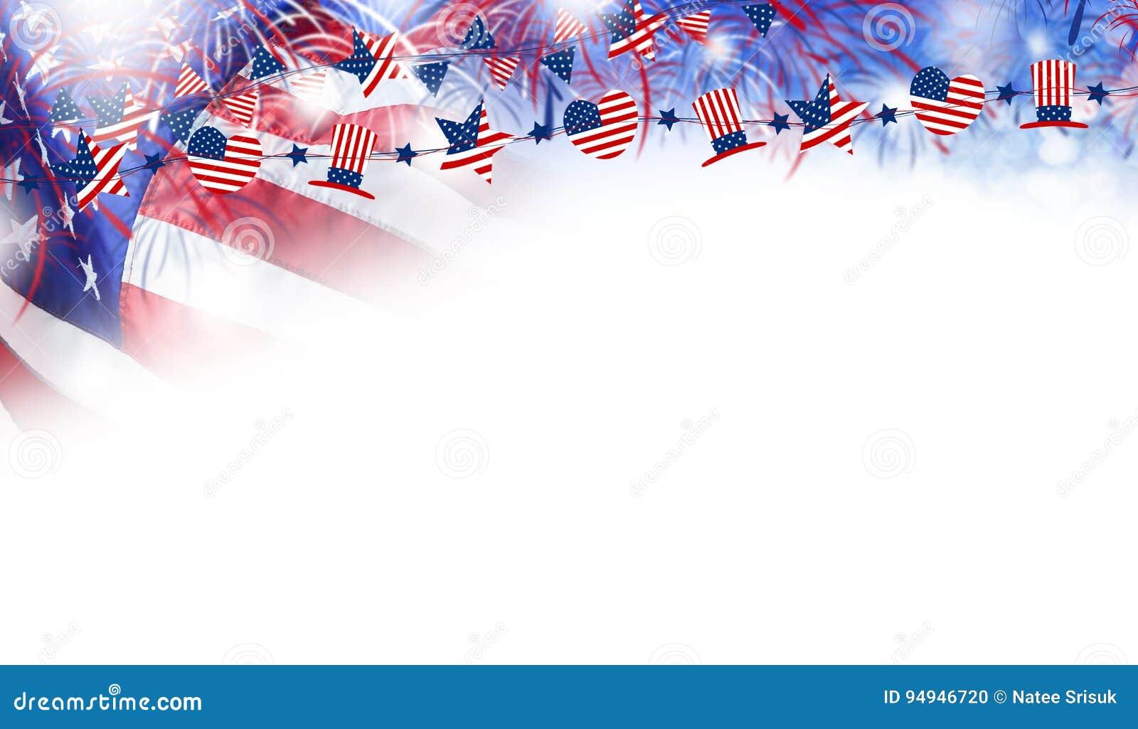 USA flagga med fyrverkeribakgrund för 4 den juli självständighetsdagen