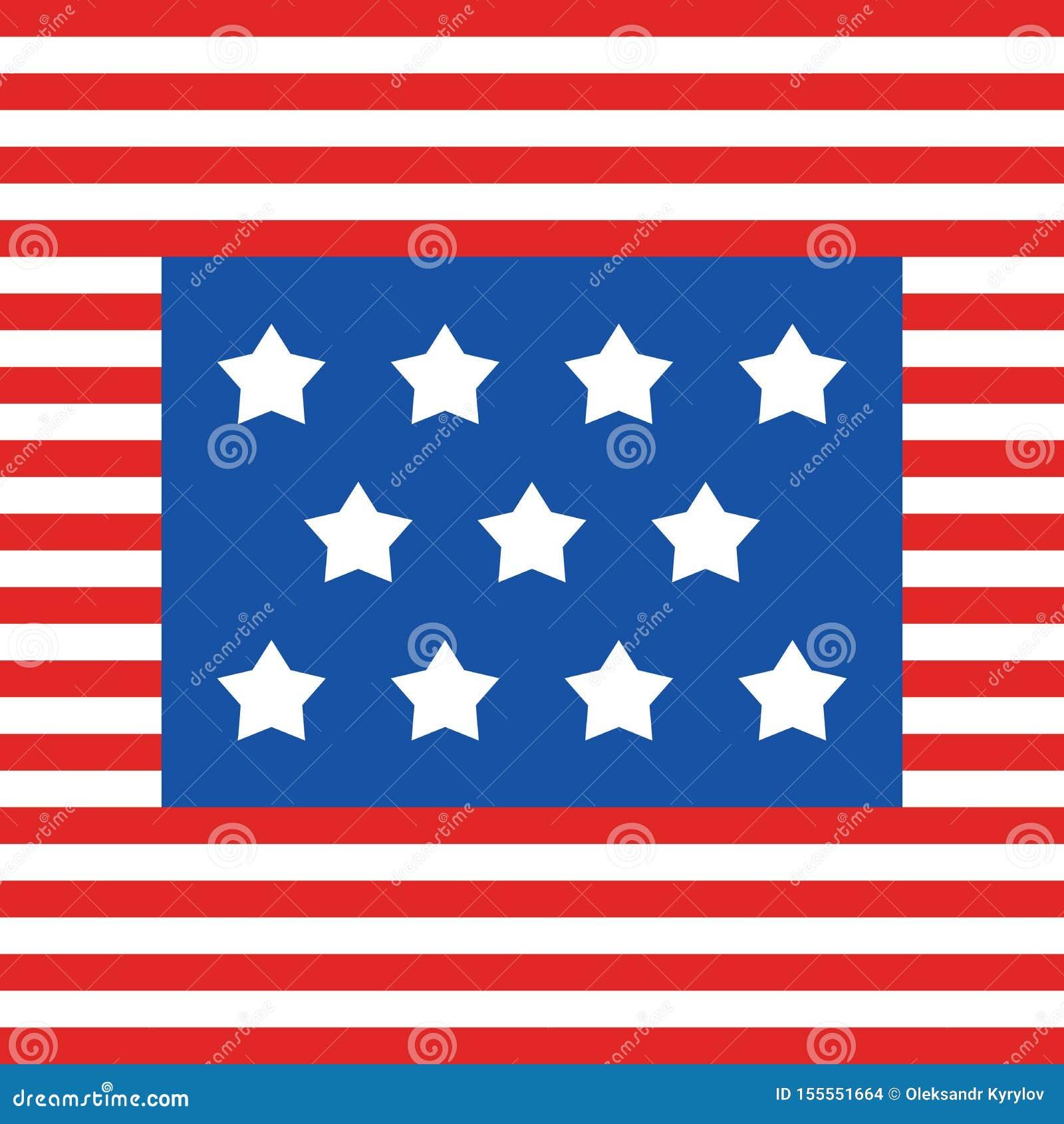 USA flaggaband och 11 stjärnor, den 4th fjärdedelen av veteran för juli dagen för krigsmakt för amerikanska självständighet patri