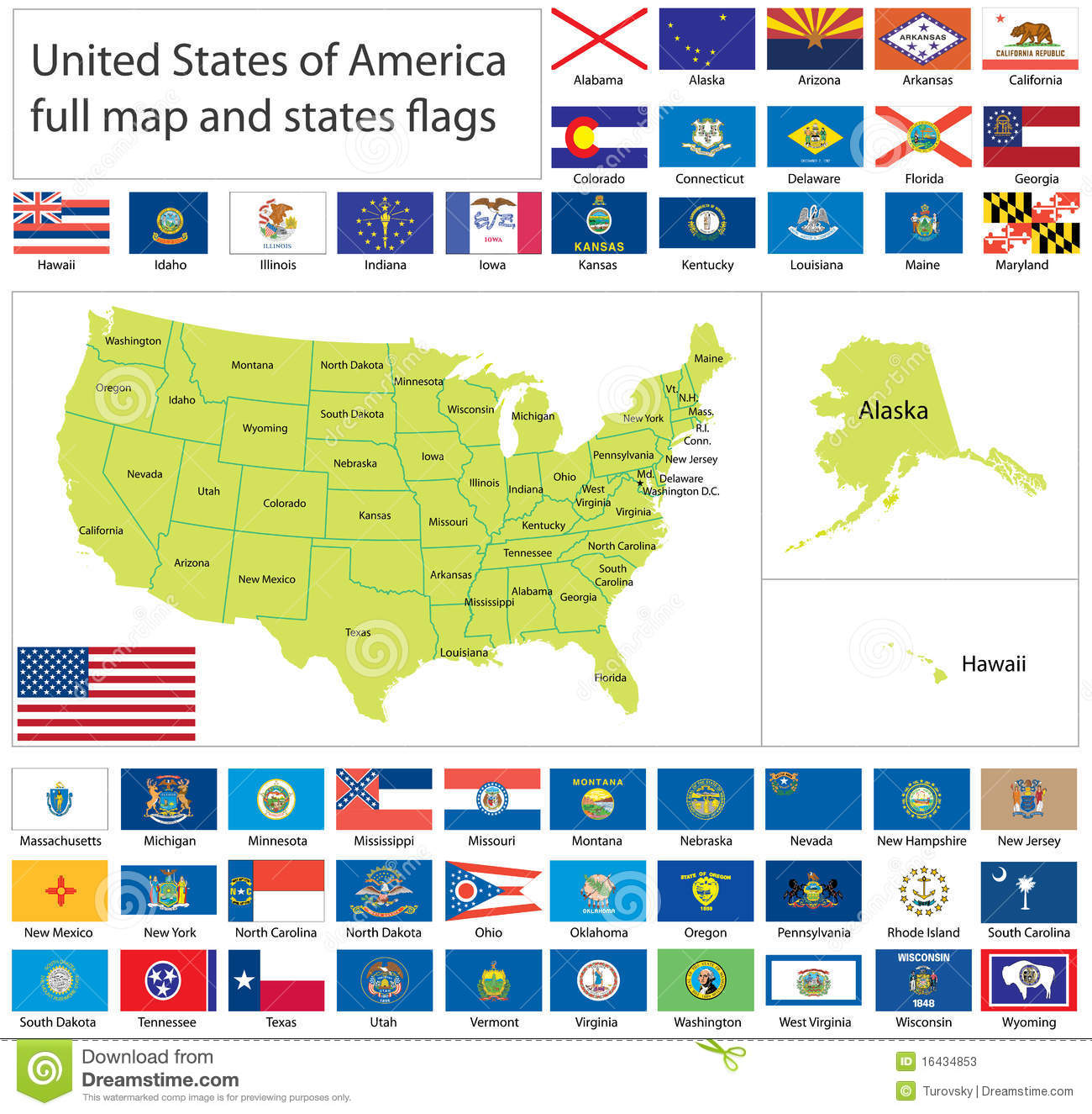 Full Map Of Usa.Usa Flags And Map Stock Vector Illustration Of Illinois 16434853