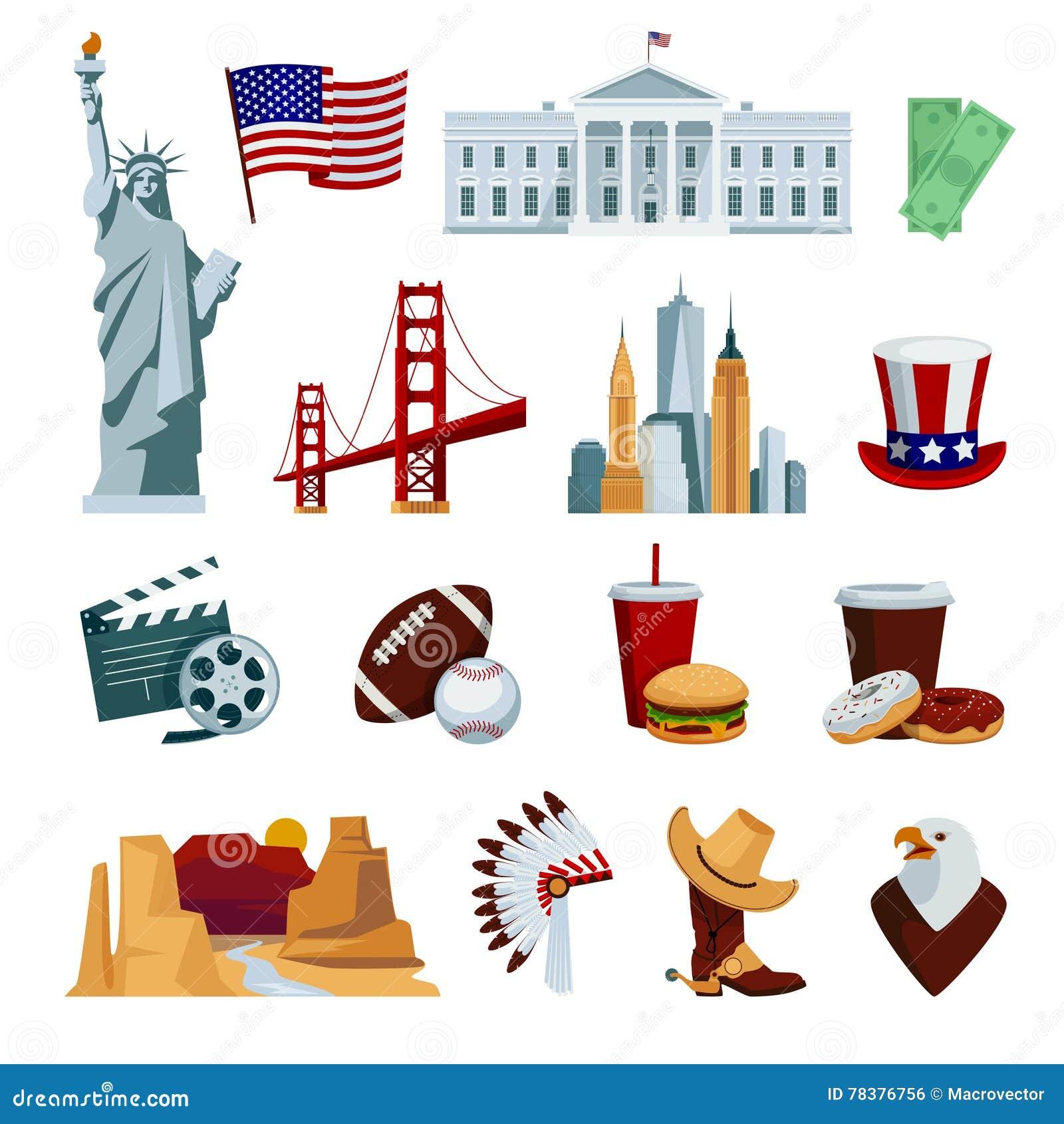 American National Symbols Usa Flat Icons ...
