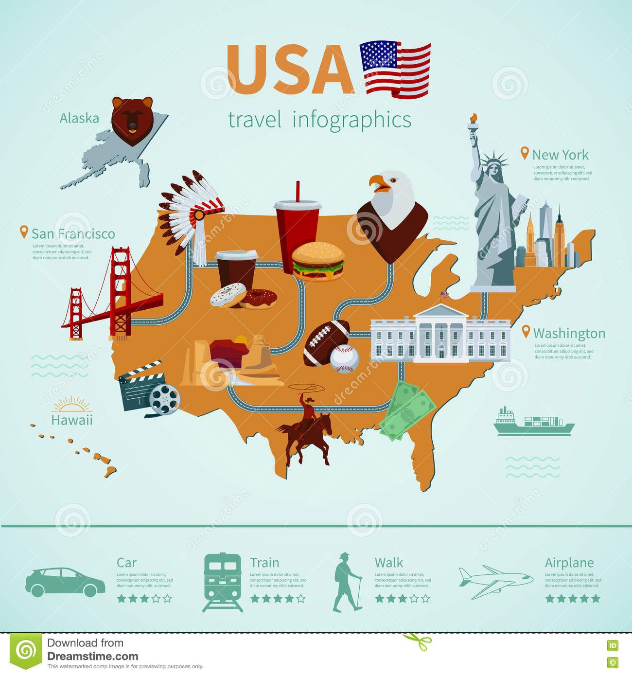 USA Flat Map Infographics Stock Vector. Image Of