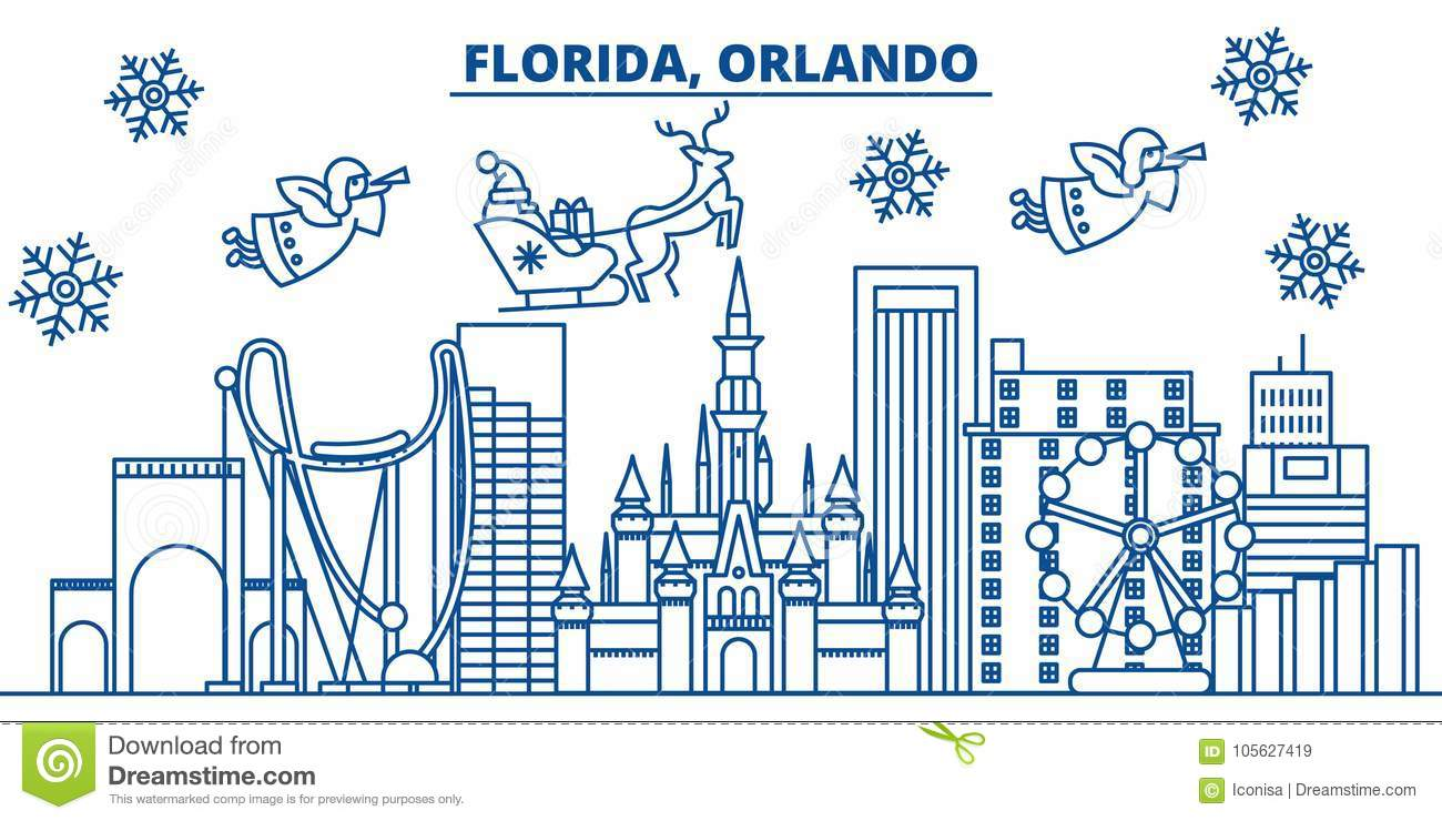 usa florida orlando winter city skyline merry christmas and happy new year decorated