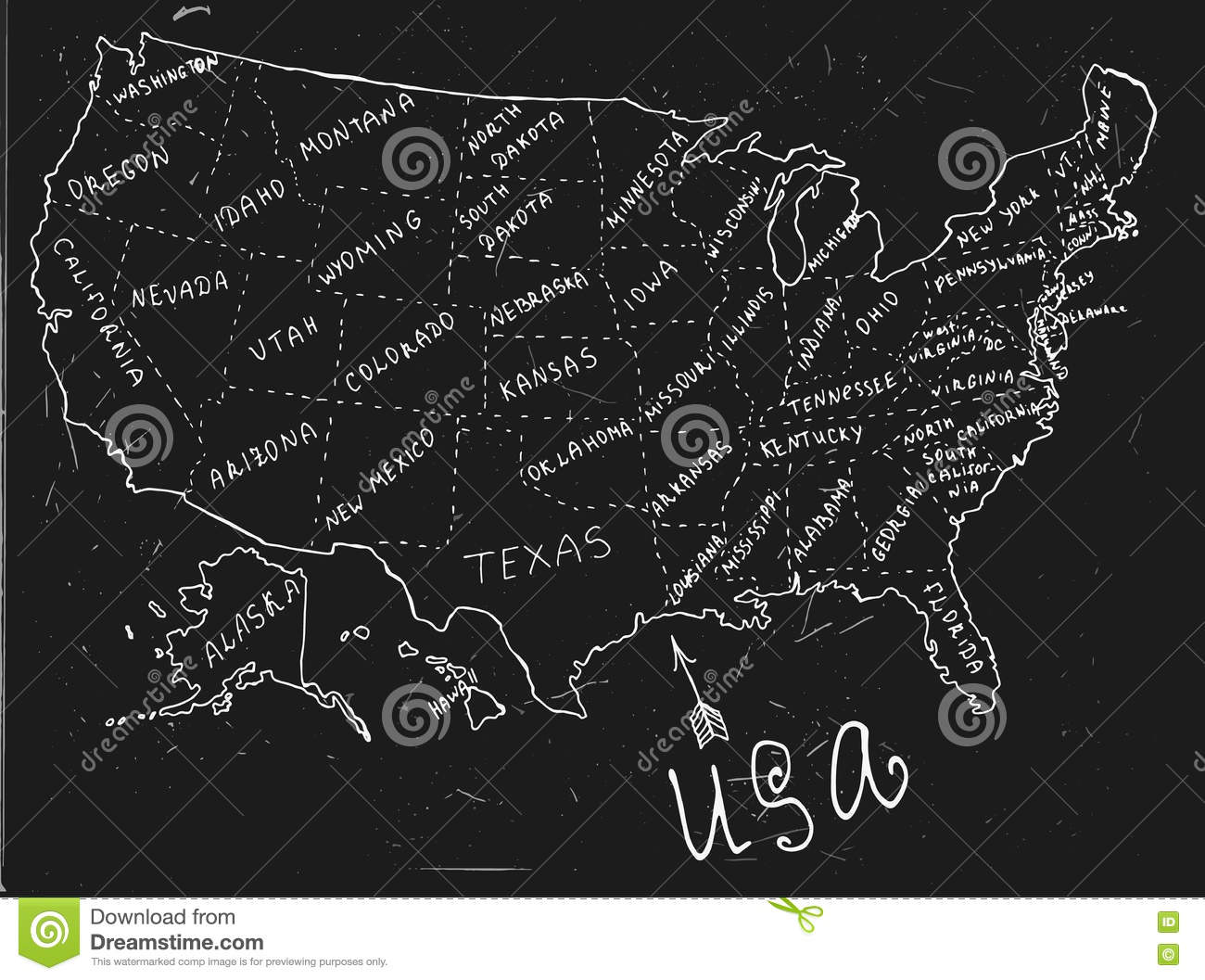 USA Hand Drawn Map A Stock Vector Image - Hand drawn us map vector