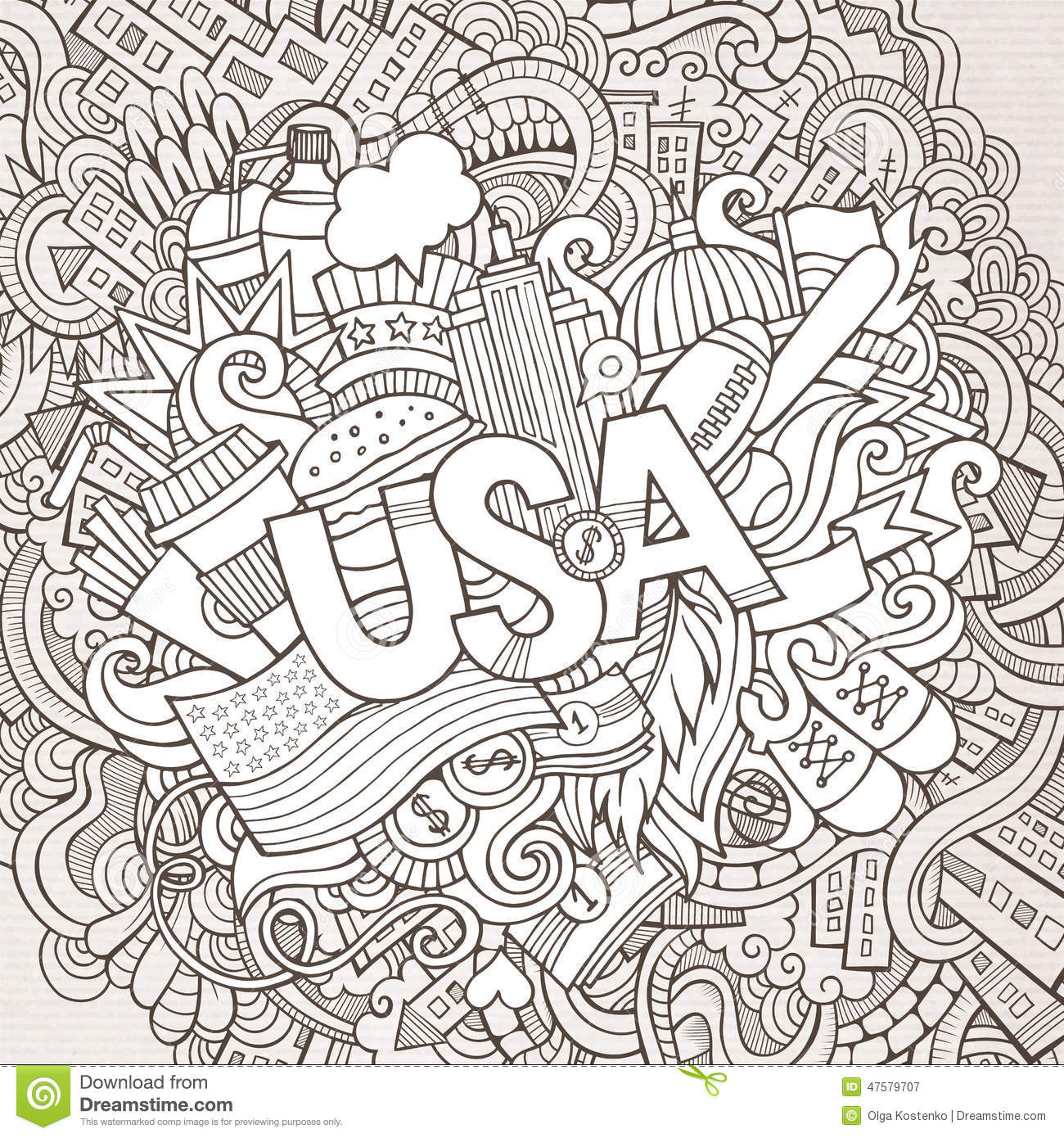 Stock vector music hand lettering and doodles elements - Usa Hand Lettering And Doodles Elements Background Royalty Free Stock Photography