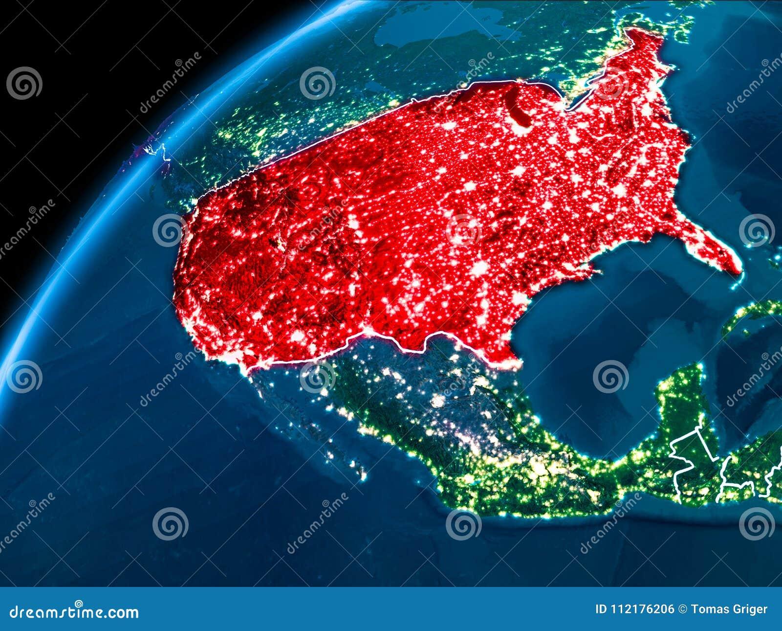 Map Of Usa At Night.Map Of Usa At Night Stock Illustration Illustration Of Border