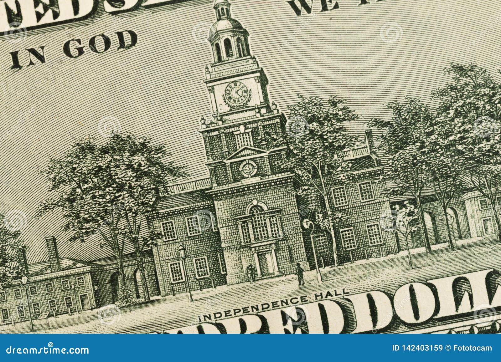 USA hundra dollarbeståndsdelar, toppen makro, stänger sig upp fotoet
