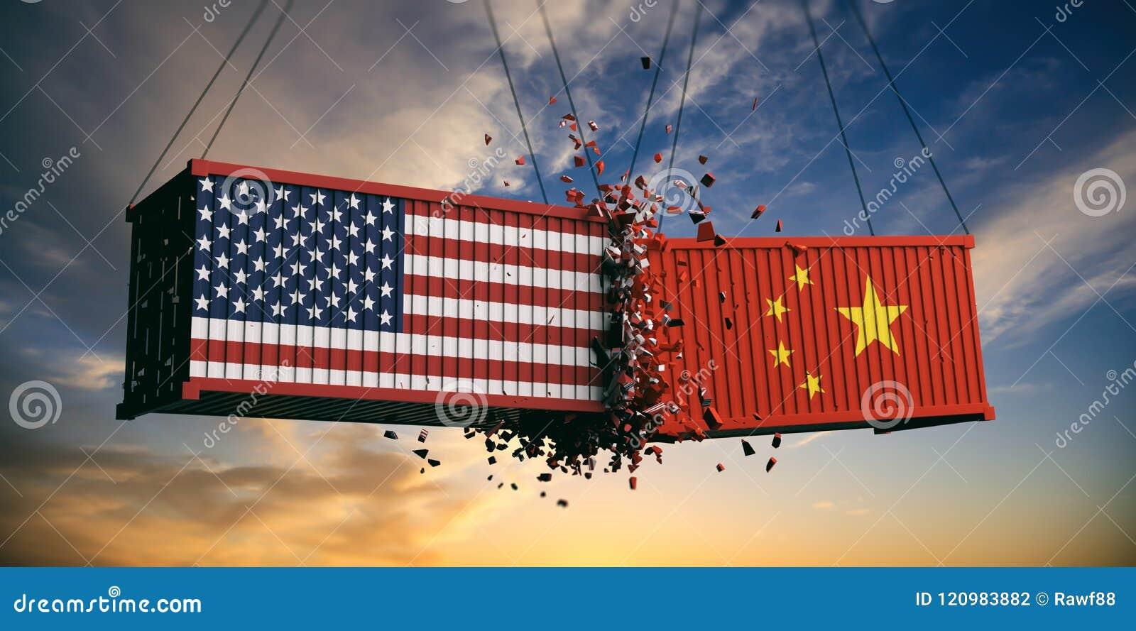 USA i Chiny wojna handlowa USA Ameryka i chińczyka flaga rozbijał zbiorniki na niebie przy zmierzchu tłem