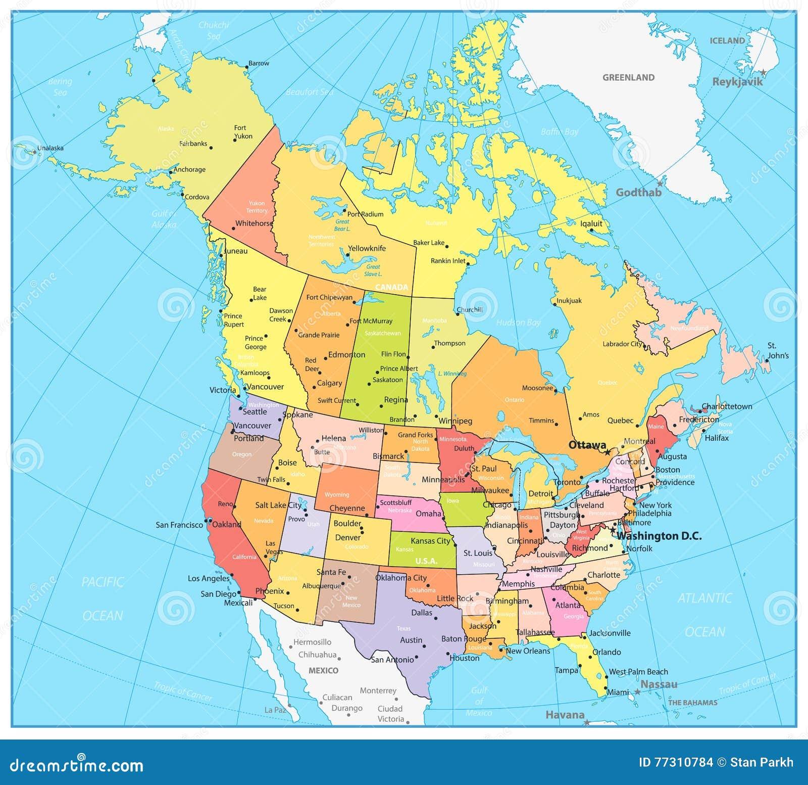 Mapa Mapa Kanady A Usa