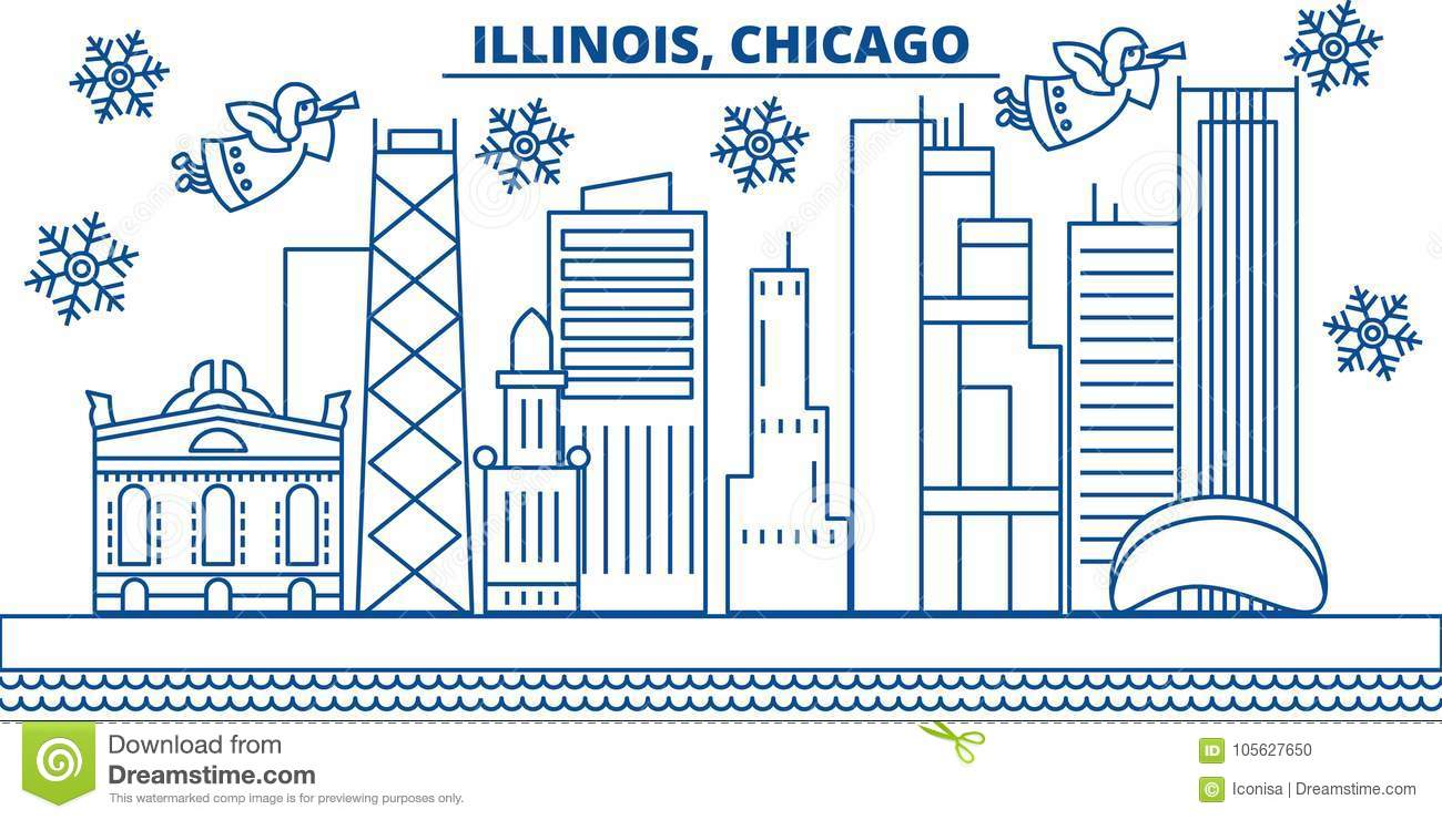 usa illinois chicago winter city skyline merry christmas and happy new year decorated