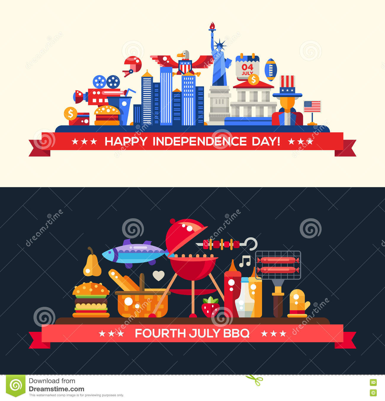 Usa Independence Day And Bbq Banners Set Stock Vector Illustration