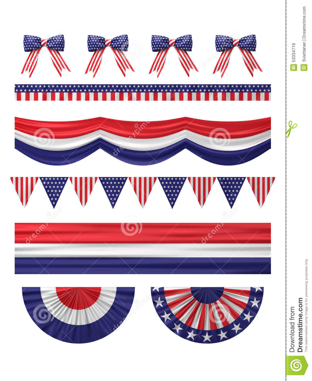 USA Independence Day Decoration Borders Set. Stock
