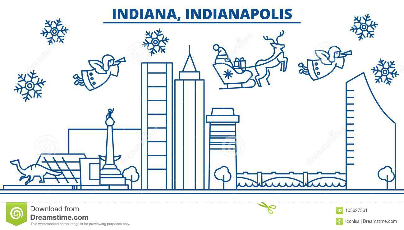 USA, Indiana , Indianapolis Winter City Skyline. Merry Christmas And ...