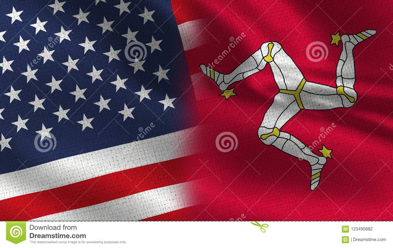 usa isle of man realistic half flags together stock illustration