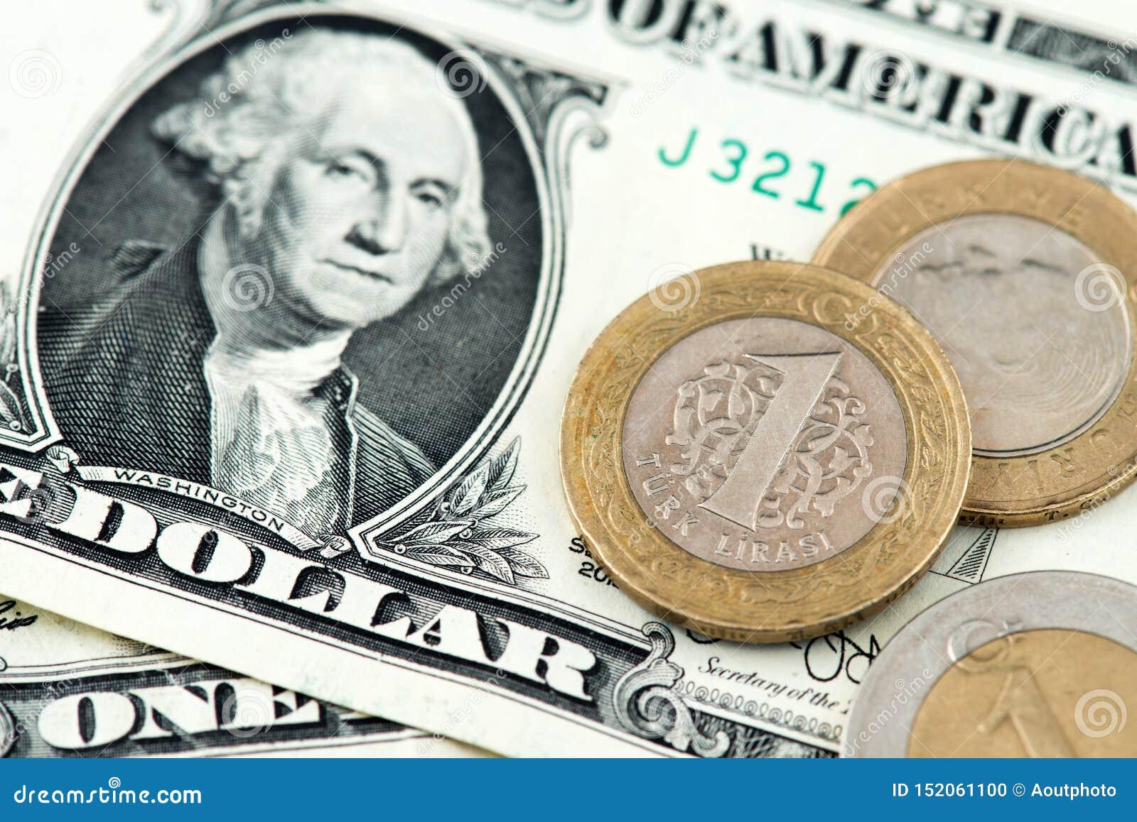 USA Jeden dolara banknoty i Tureckiego lira monety