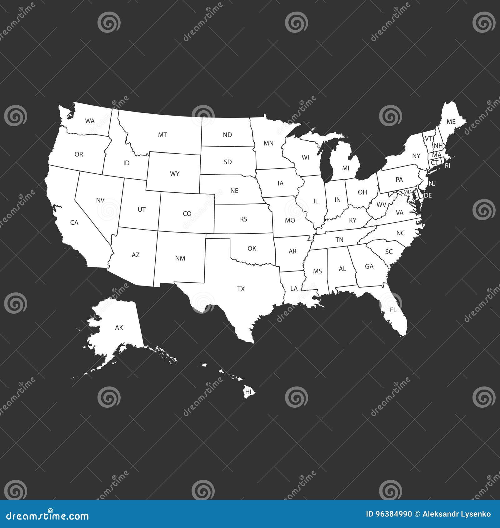 Usa Karte Mit Bundeslandern Vektorillustration Vereinigte Staaten O Vektor Abbildung Illustration Von Kansas Illinois 96384990