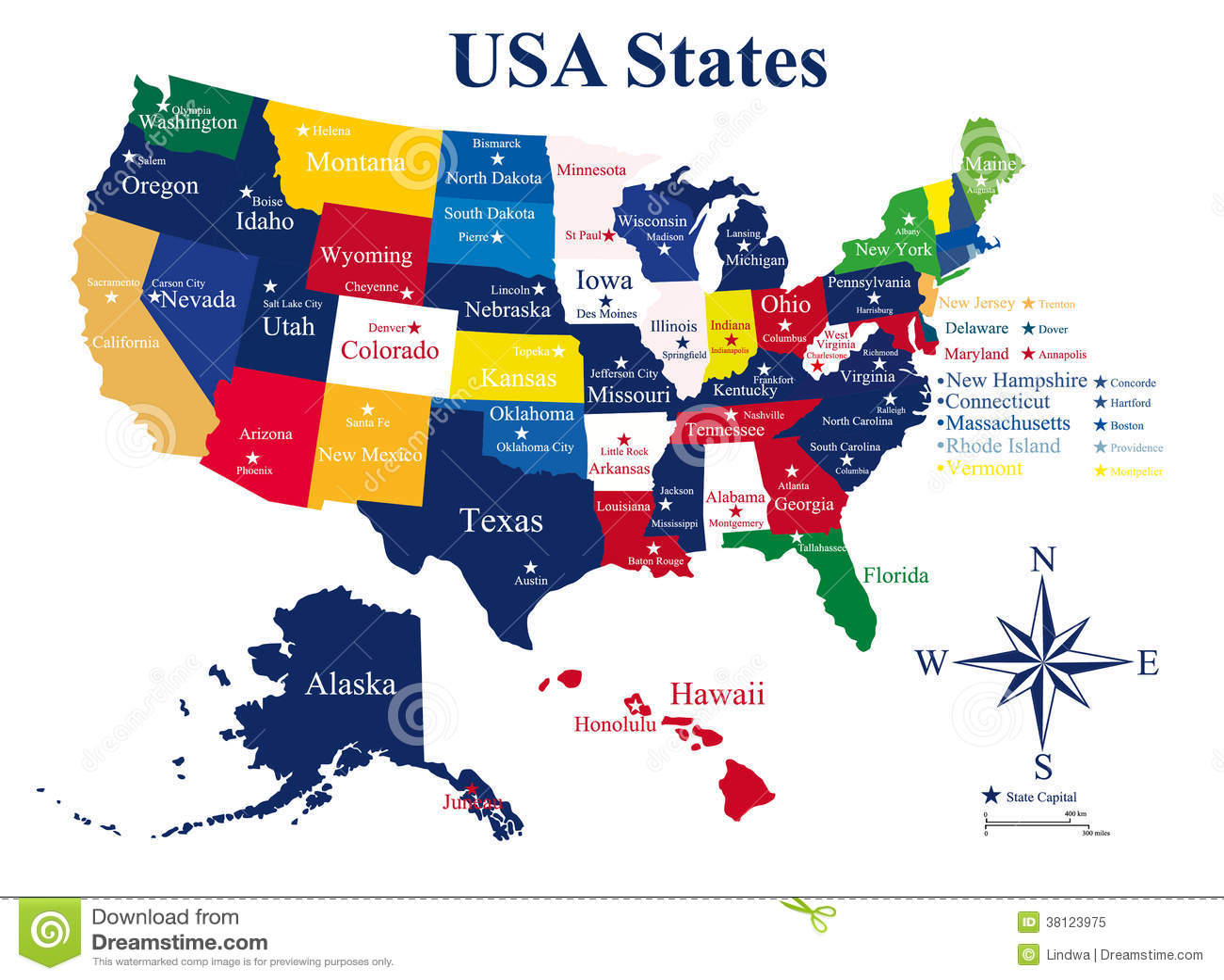 Usa Karte Mit Zustanden Und Hauptstadten Vektor Abbildung