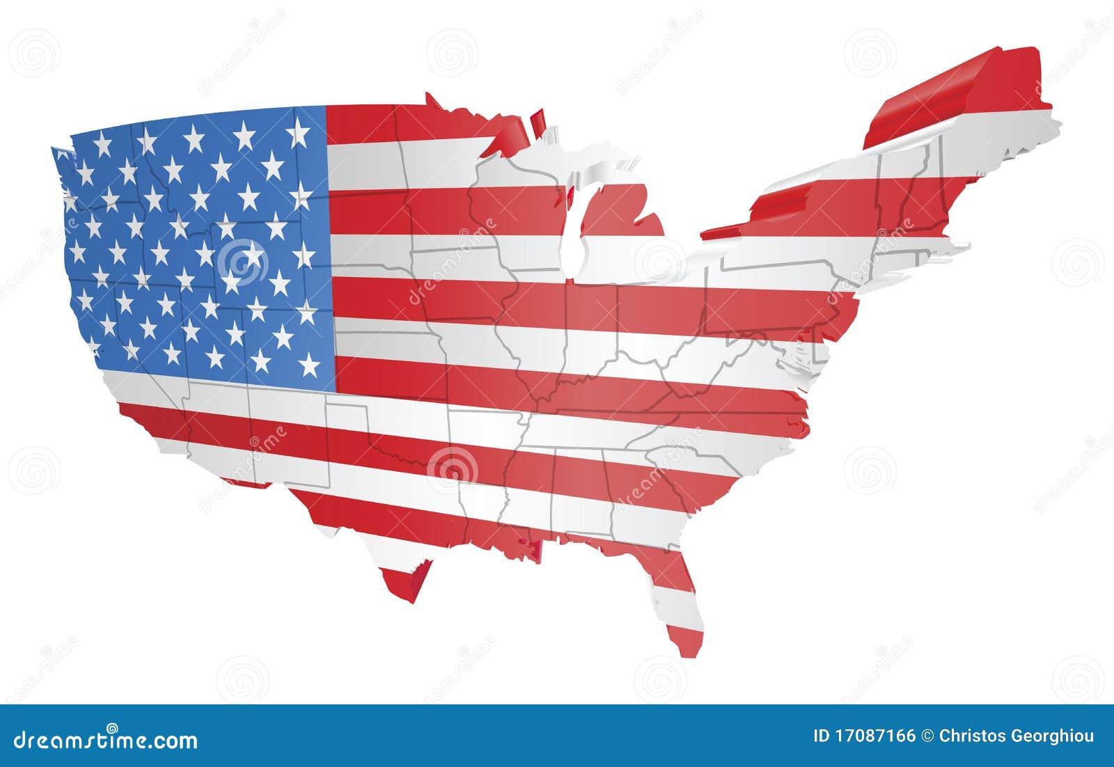 USA-Karte und Markierungsfahne