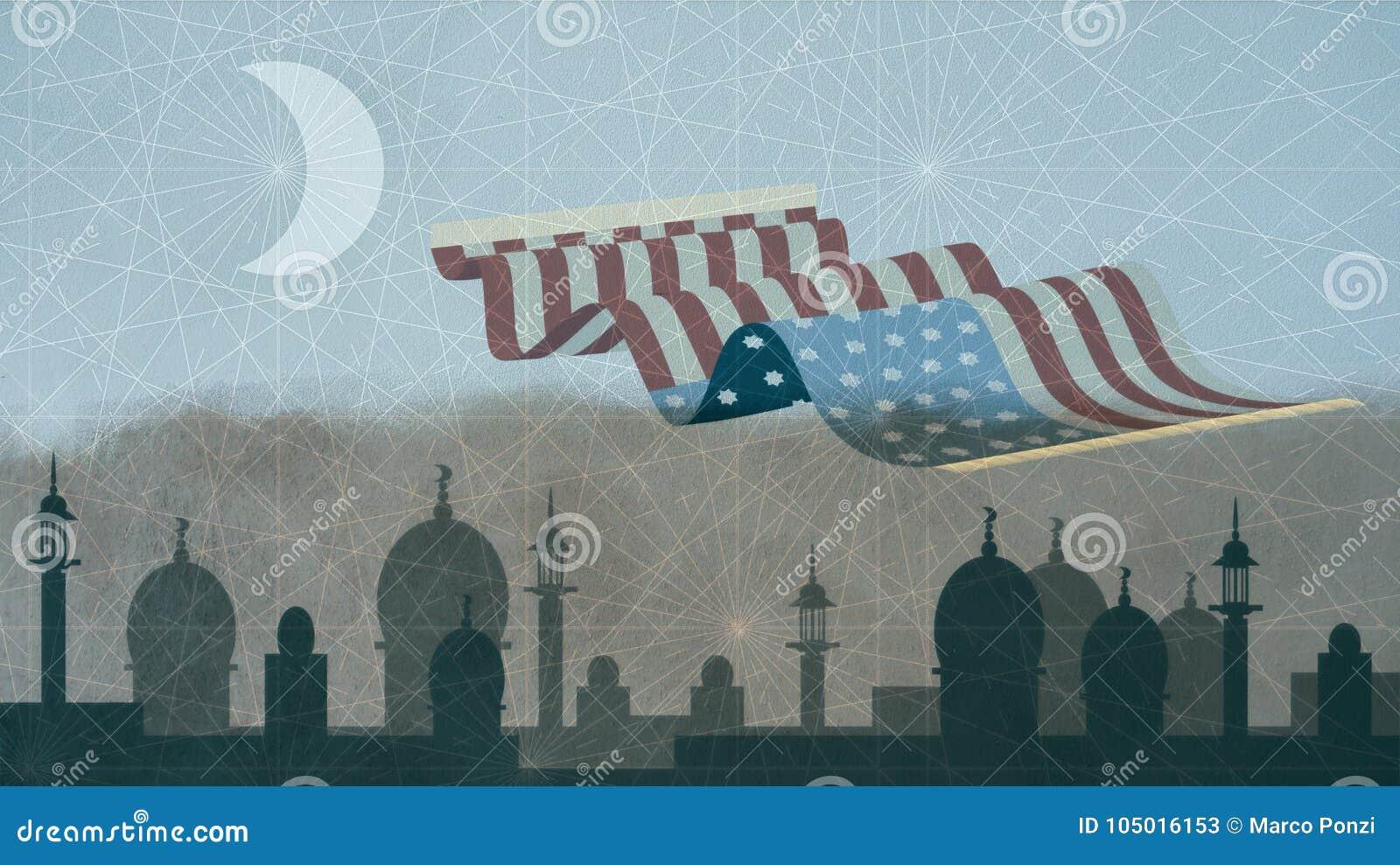 USA kennzeichnen dargestellt als magischer Teppich, der über islamisches Stadtbild fliegt