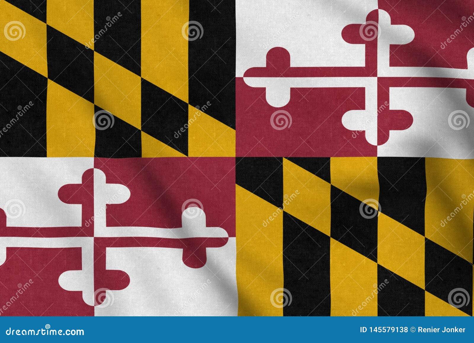 USA kennzeichnen von Maryland, das leicht in den Wind wellenartig bewegt