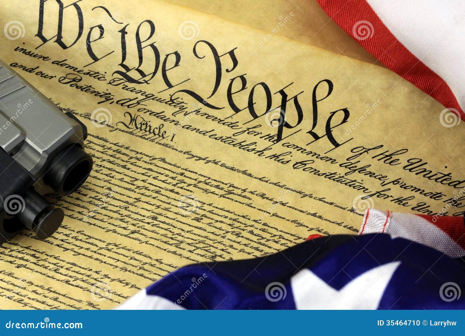 USA-konstitution med handvapnet