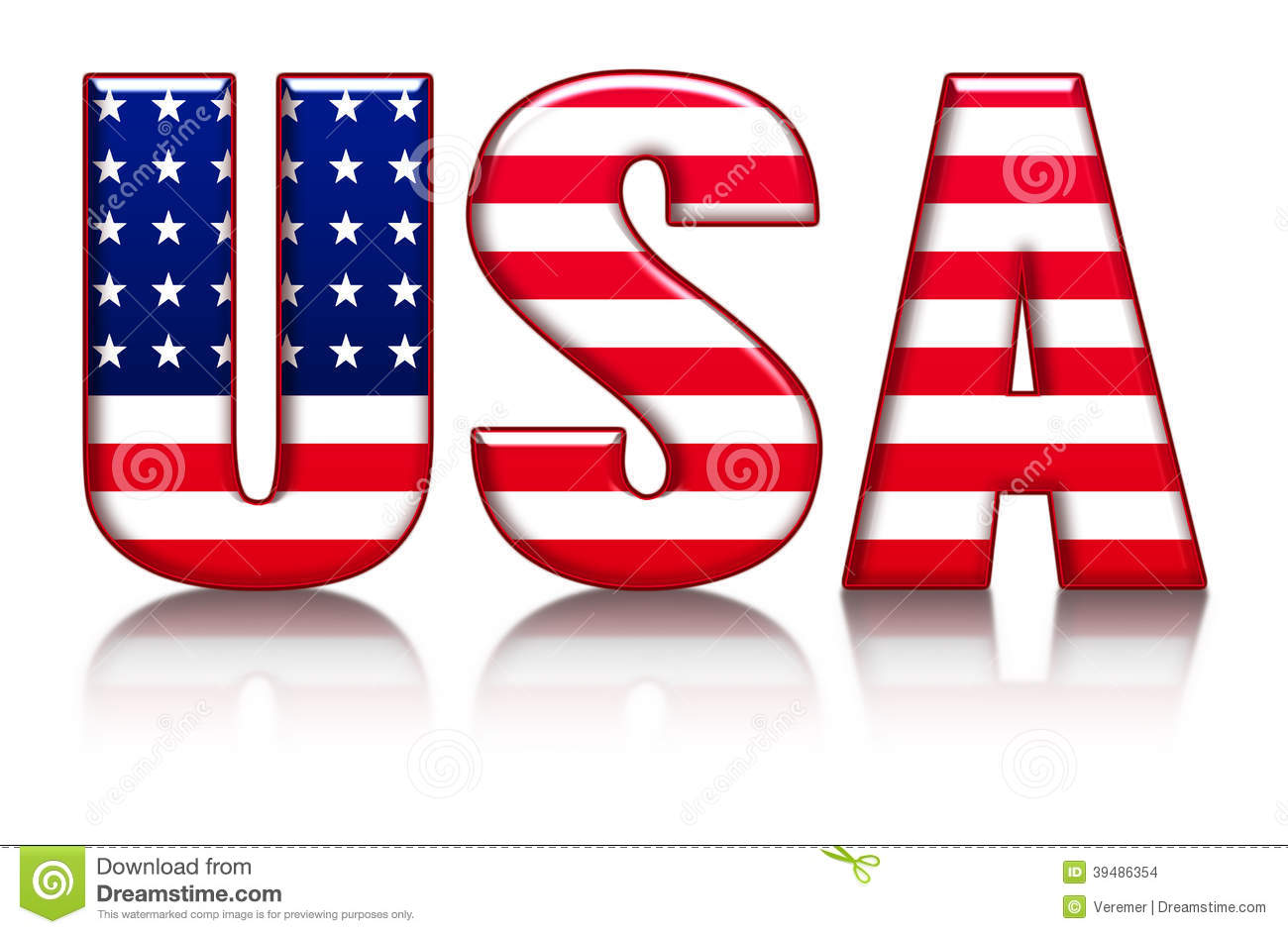 usa letters word with flag background stock illustration