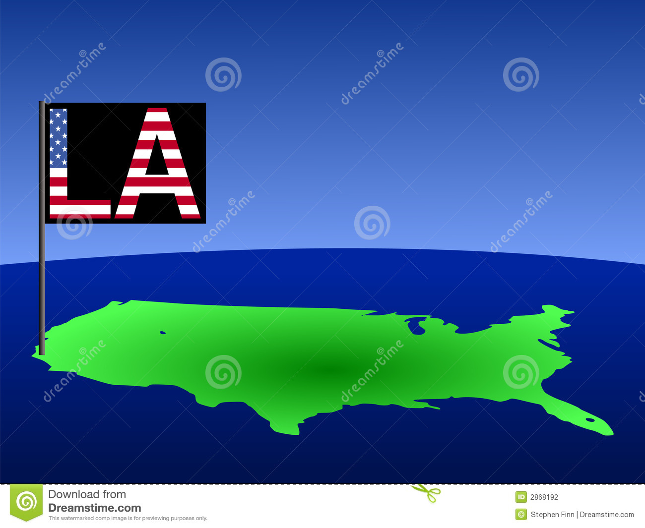 Usa With Los Angeles Flag Stock Photography Image Los Angeles Usa Map