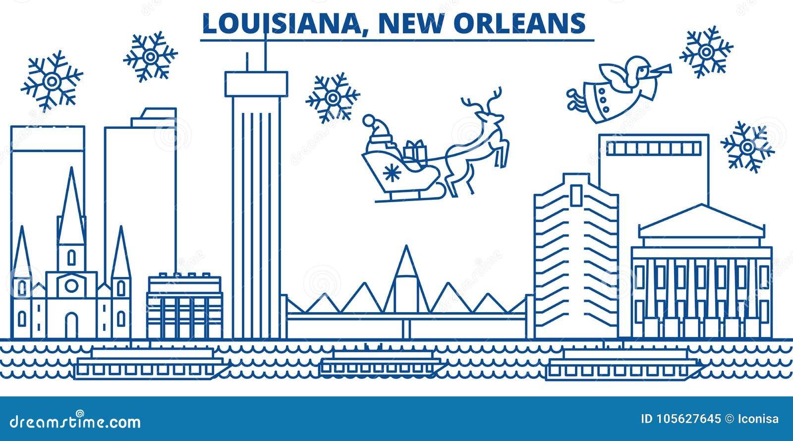 USA, Louisiana , New Orleans Winter City Skyline. Merry Christmas ...