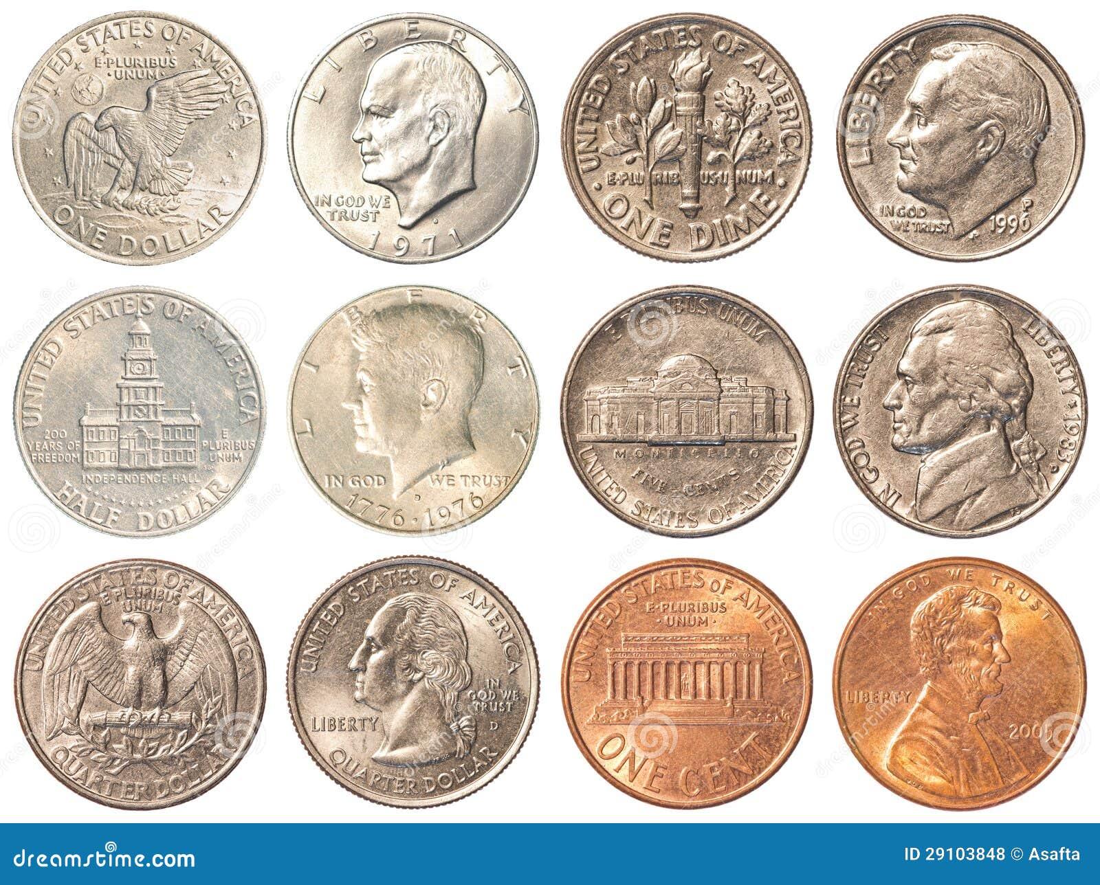 Usa Münzen Lokalisiert Auf Weißem Hintergrund Stockfoto Bild Von