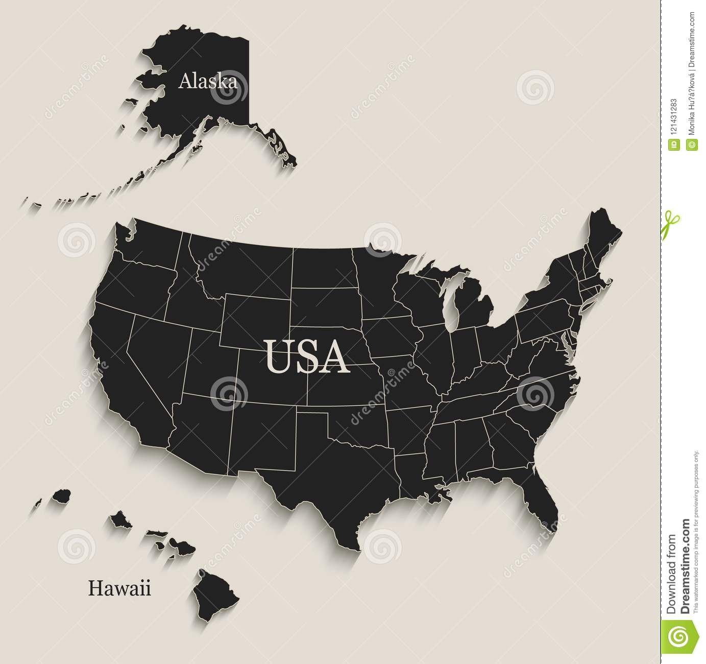 USA Map With Alaska And Hawaii Black Blackboard Separate States ...