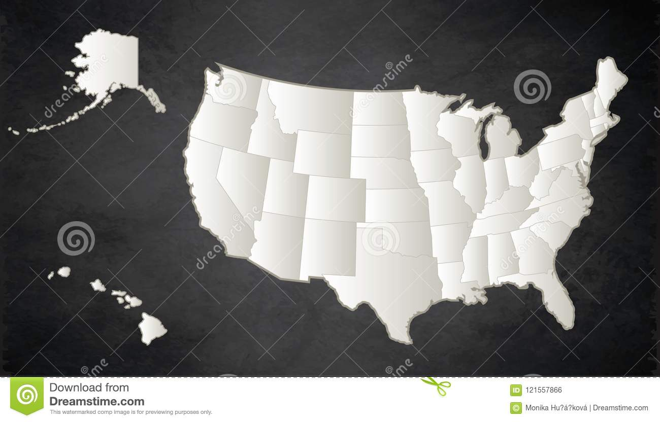 USA Map With Alaska And Hawaii Map Black White Separate States ...
