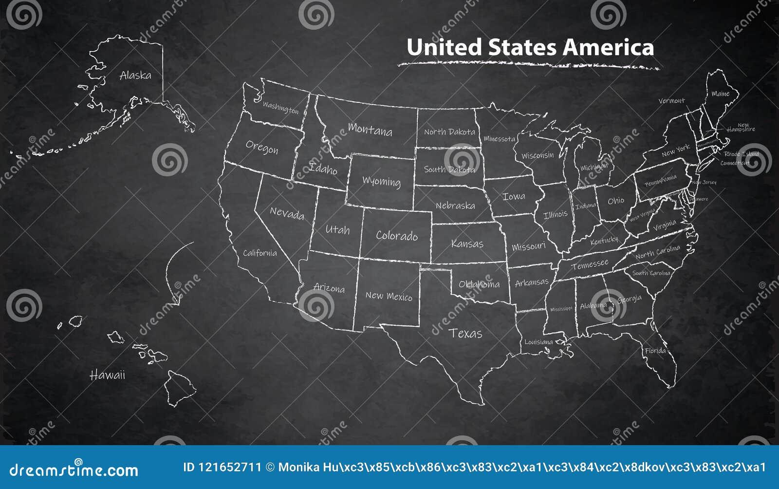 Usa Map With Alaska And Hawaii Map Separate Individual Blackboard