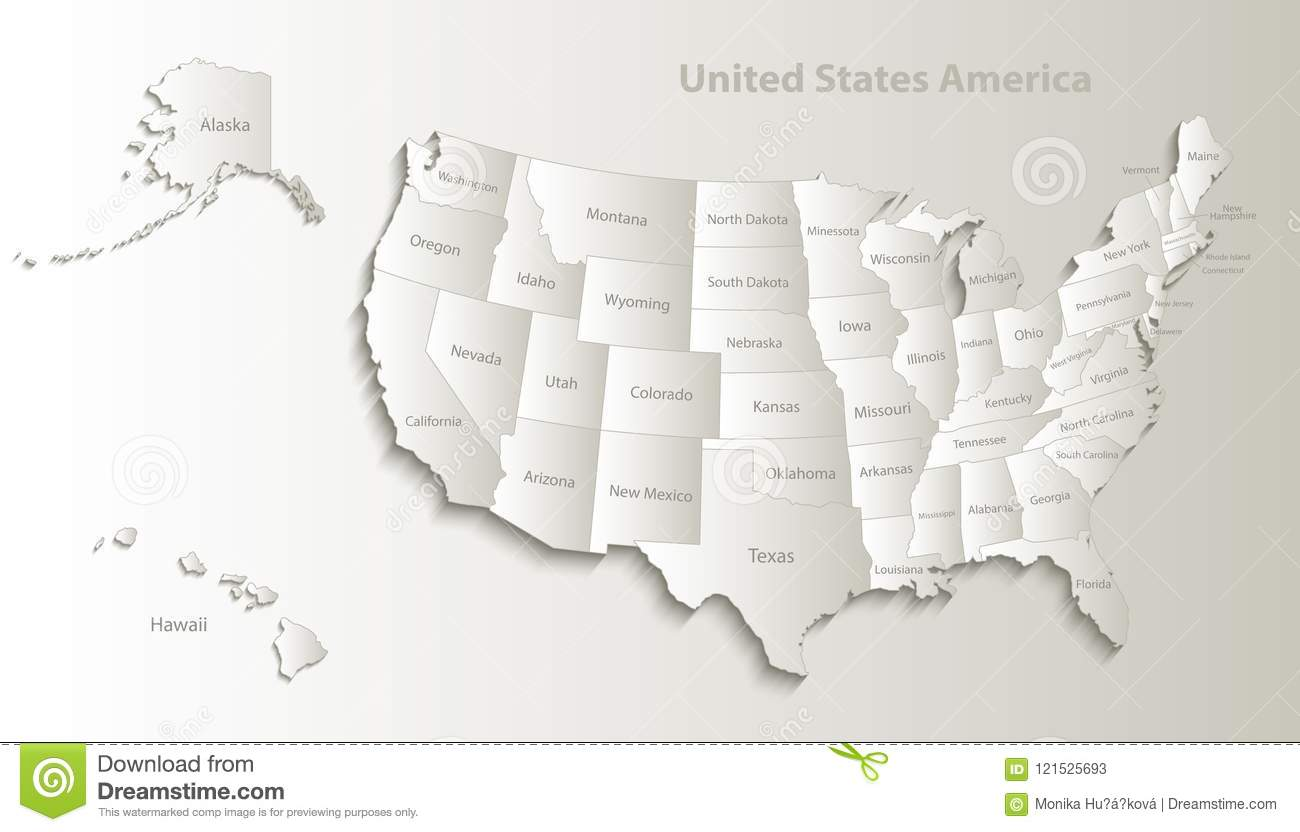 Usa Map With Alaska And Hawaii Map Separate Individual Card Paper 3d