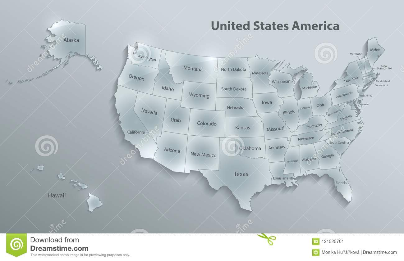 USA Map With Alaska And Hawaii Map Separate Individual Glass Card ...