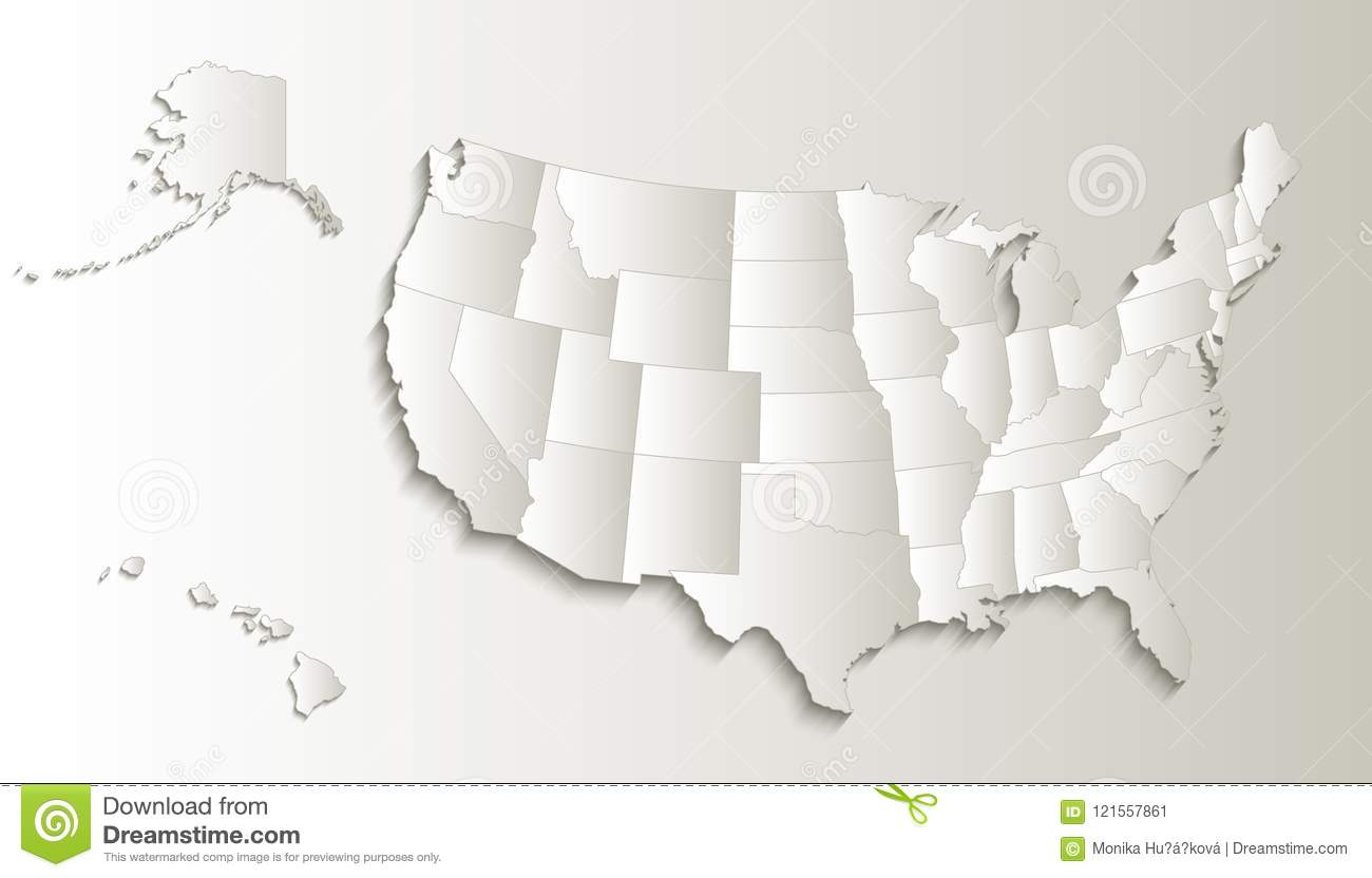USA Map With Alaska And Hawaii Map Separate States Individual Blank ...