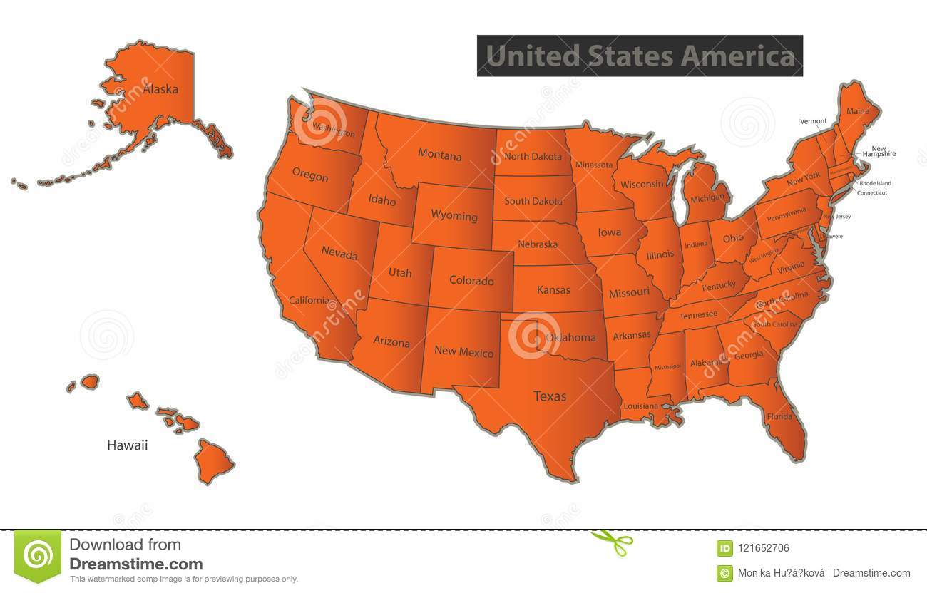 USA Map With Alaska And Hawaii Map Orange Separate Individualr Stock ...