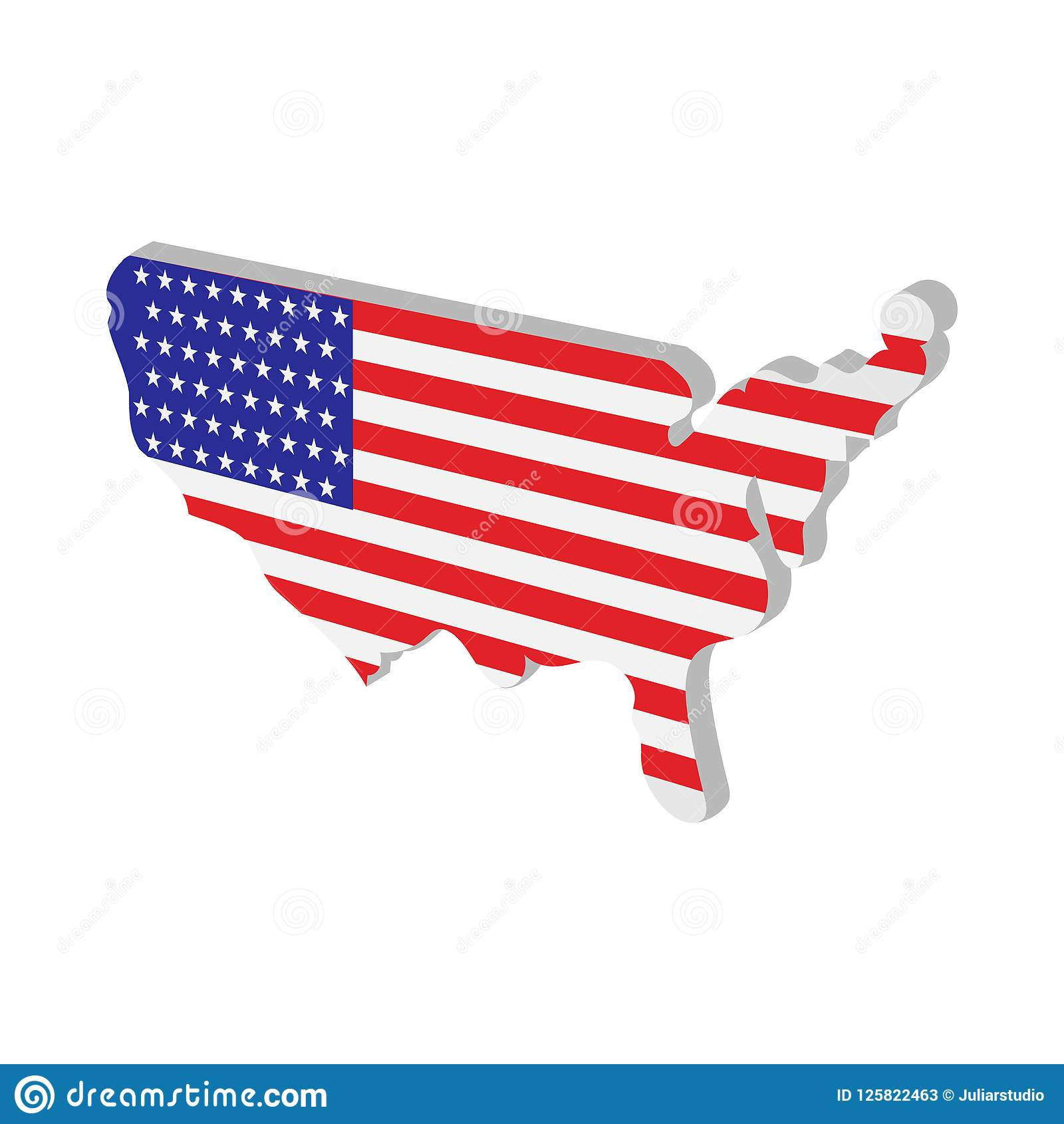 USA Map With American Flag Texture Cartoon Icon Stock Illustration ...
