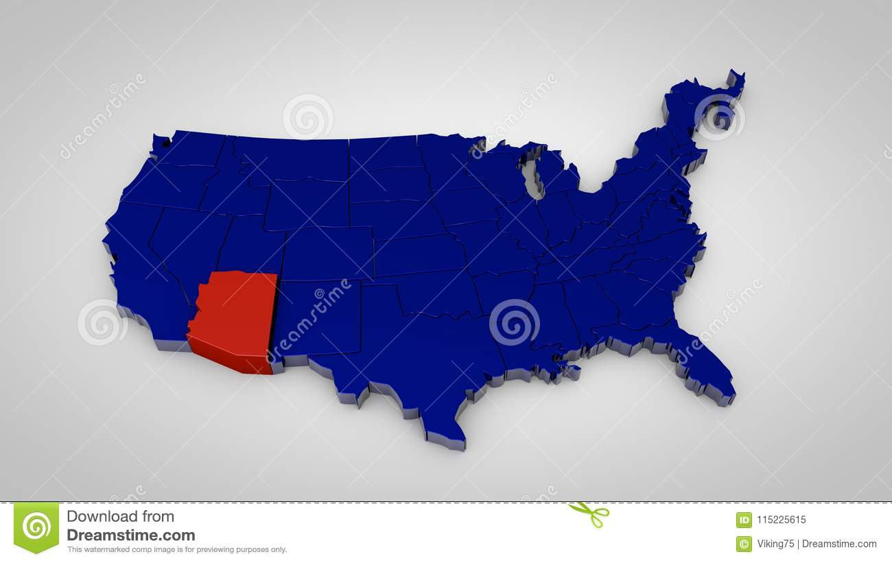 Map Of Arizona Only.Usa Map With Arizona Map Highlited 3d Render Stock Illustration
