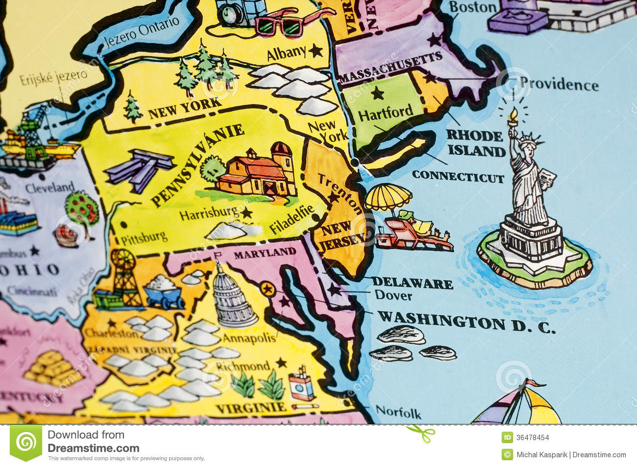 USA Map Stock Images Image - Map of the us east coast