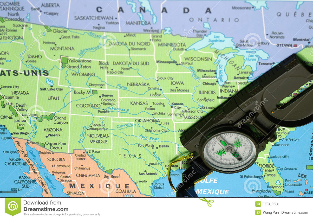 Map Of Usa With Compass USA map and compass stock photo. Image of south, north   36043524