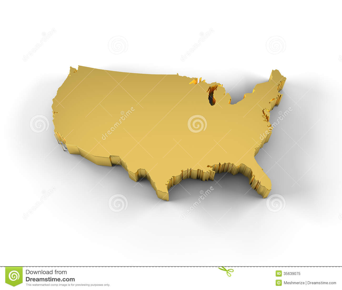 USA Map 3D Gold With Clipping Path Stock Illustration ...