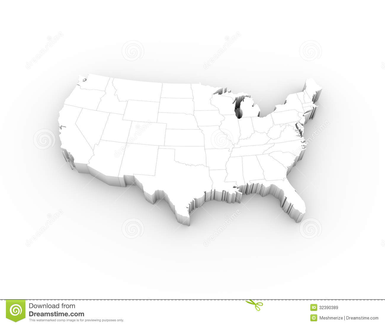 USA Map D White With States And Clipping Path Stock Illustration - Us map 3d