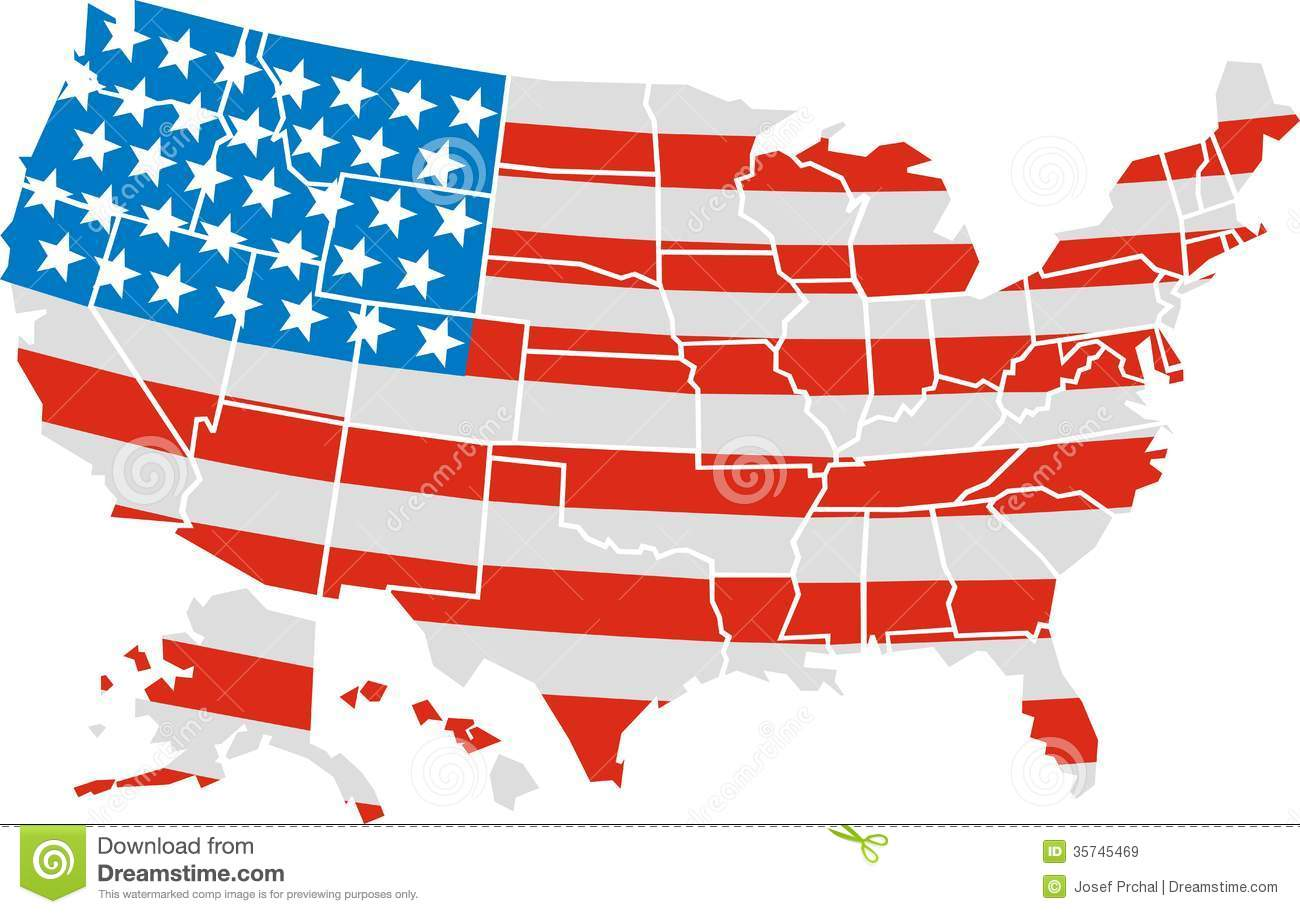 Free Maps And Flags Icons: USA Map And Flag Stock Vector. Illustration Of United