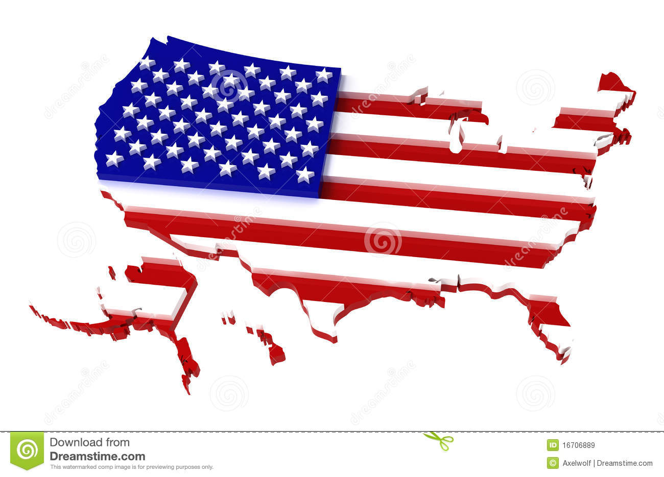 USA Map With Flag Clipping Path Included D Royalty Free Stock - Red and blue us map