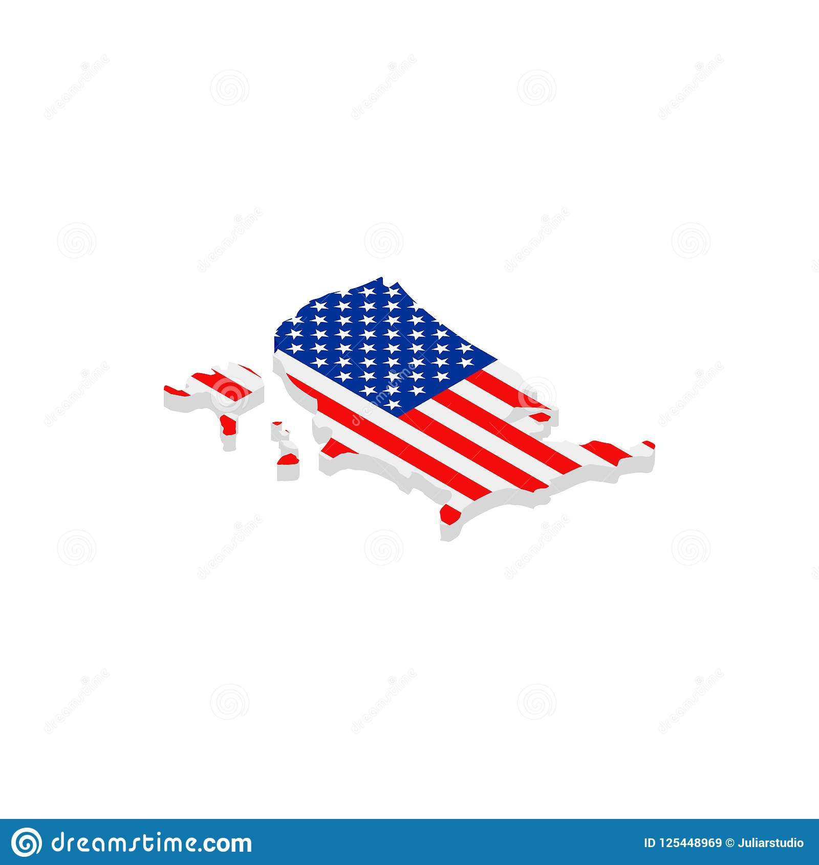 Usa Map With Flag Isometric 3d Icon Stock Illustration