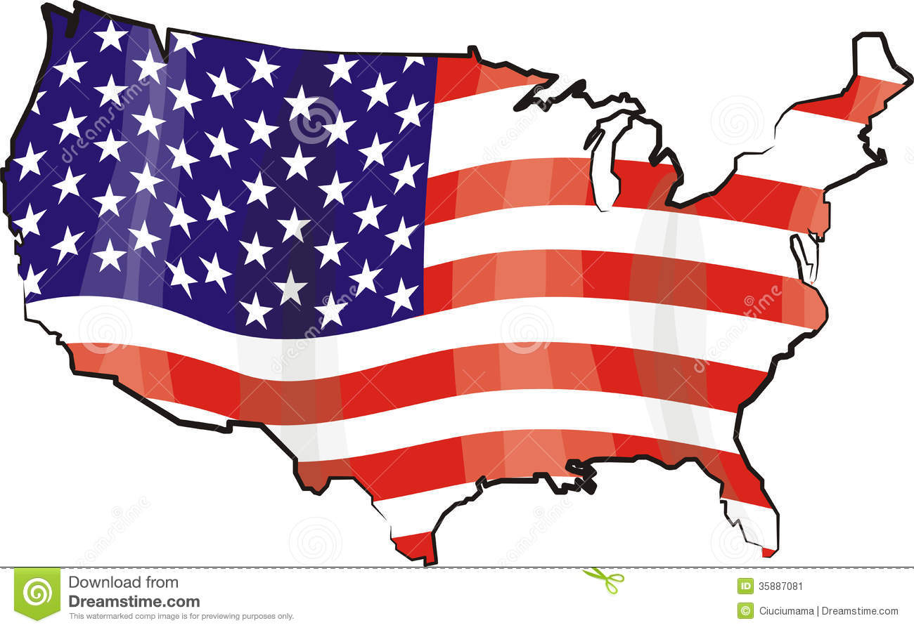 Usa - map and flag stock vector. Illustration of tourism - 35887081
