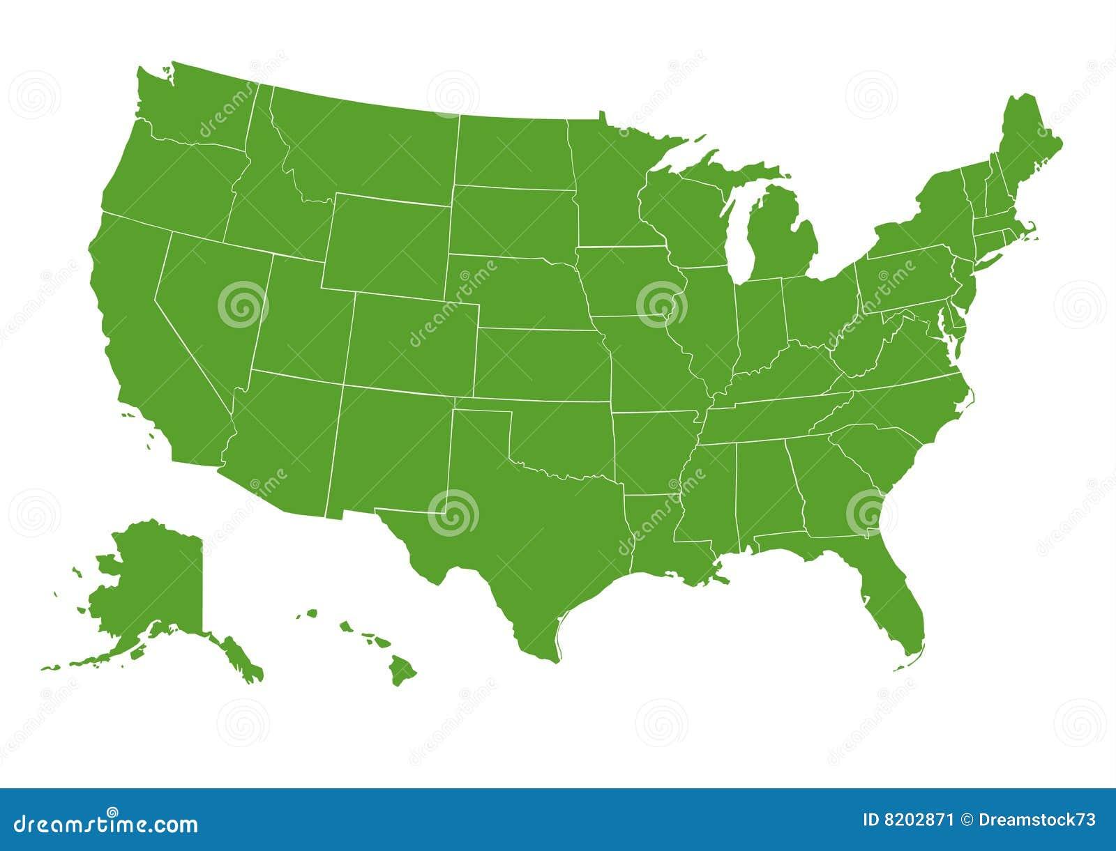 USA Map Green Stock Image - Image: 8202871