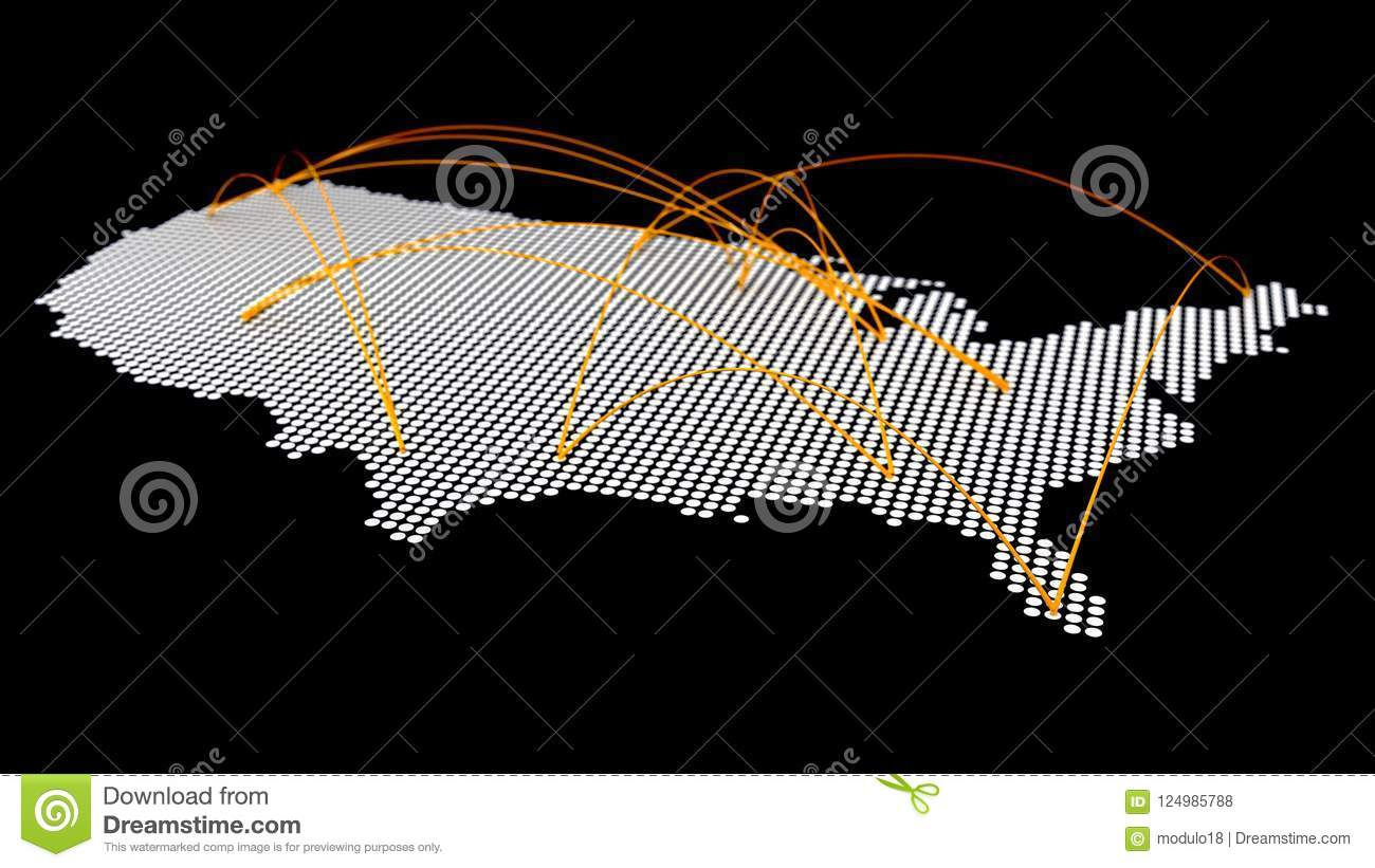 Aerial Map Of Japan.Usa Map Halftone With Aerial Curve Connection Stock Illustration